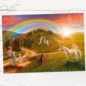 kaartje voor geboorte met eenhoorn en regenboog