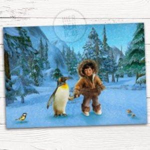 kaartje voor geboorte van tweeling in de winter - winterlandschap met eskimo en pinguin