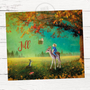 geboorte kaartje met herfst landschap - grote zus op de rug van een hertje