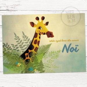 kaartje voor geboorte met giraf