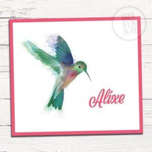 geboortekaartje met kolibri aquarel - colibri waterverf