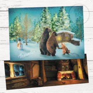geboortekaartje op maat met tekening van familie beren winter sfeer