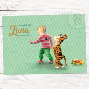 geboortekaartje op maat met grote broer en klein zusje in tijgerpak