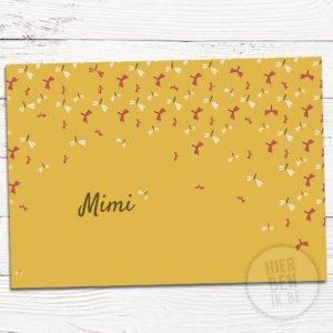 kaartje voor geboorte met patroon libelle